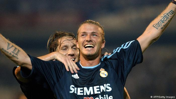 David Beckham (r.), hier noch in Diensten von Real Madrid, jubelt (Foto: CRISTINA QUICLER/AFP/Getty Images)