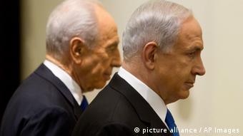 بنیامین نتانیاهو، نخستوزیر و شیمون پرز، رئیسجمهور اسرائیل