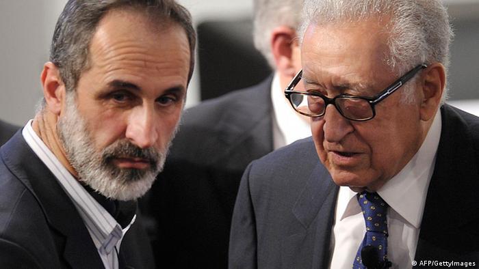 Syrien-Sondergesandter Lakhdar Brahimi und syischer Oppositionführer Moas al-Chatib (Foto: AFP/Getty Images)