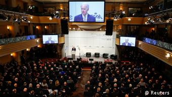 U.S. Vice President Joe Biden gives a speech at the 49th Conference on Security Policy in Munich February 2, 2013. Senior U.S., Russian and U.N. officials, along with the leader of the Syrian opposition, were all expected in Munich on Saturday, providing a rare opportunity for talks to revive efforts to end the civil war in Syria. REUTERS/Michael Dalder(GERMANY - Tags: MILITARY POLITICS)