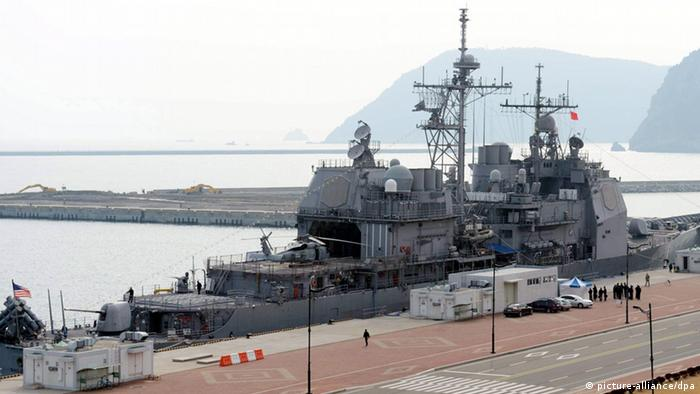 A picture made available 01 February 2013 shows the USS Shiloh, a 9,800-ton Aegis guided missile cruiser of the US Navy, is docked at a naval base in the South Korean port city of Busan, 31 January 2013. The US warship made the port call as North Korea currently makes preparations for an imminent nuclear test. EPA/YONHAP SOUTH KOREA OUT