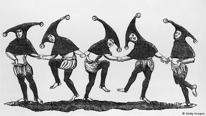 Fünf Narren auf einer mittelalterlichen Zeichnung (Foto: Hulton Archive/Getty Images)