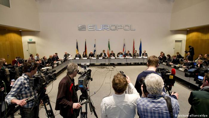 View of an Europol press conference in The Hague, The Netherlands, 04 February 2013. The European police agency says a wide-ranging match fixing investigation has uncovered more than 380 suspicious matches, including Word Cup and European Championship qualifiers and two Champions League games. EPA/ROBIN VAN LONKHUIJSEN