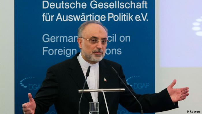 Iran's Foreign Minister Ali Akbar Salehi delivers a speech at the German Council on Foreign Relations in Berlin February 4, 2013. Iran said on Sunday it was open to a U.S. offer of direct talks on its nuclear programme and that six world powers had suggested a new round of nuclear negotiations this month, but without committing itself to either proposal. REUTERS/Thomas Peter