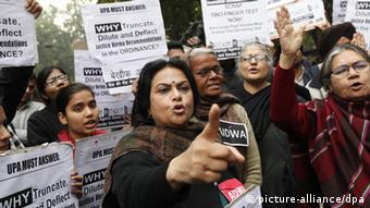 Members of All India Progressive Women's Association (AIPWA) take part in a protest against new laws on sexual crimes EPA/HARISH TYAGI