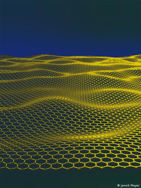 Artistic impression of a corrugated graphene sheet. (Credit to Jannik Meyer) The fine structure constant makes graphene visible. Looking through an aperture partially covered by graphene (central stripe) and two layers of graphene (region to the right), one can directly compare their opacities. The central region absorbs 2.3 percent of incident light and the bilayer region twice more. http://www.condmat.physics.manchester.ac.uk/pictures/