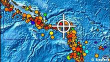 A bulletin released by the Pacific Tsunami Warning Center/NOAA/NWS issued on February 6, 2013 shows the area affected by the tsunami warning following a major earthquake measuring 8.0 magnitude off the Solomon Islands. A small tsunami hit the Solomon Islands on Wednesday after a major undersea earthquake sparked a tsunami warning for several South Pacific island nations and placed many more nations including Australia and Indonesia on alert. REUTERS/Pacific Tsunami Warning Center/NOAA/NWS/Handout (SOLOMON ISLAND - Tags: DISASTER ENVIRONMENT) ATTENTION EDITORS - THIS IMAGE WAS PROVIDED BY A THIRD PARTY. FOR EDITORIAL USE ONLY. NOT FOR SALE FOR MARKETING OR ADVERTISING CAMPAIGNS. THIS PICTURE IS DISTRIBUTED EXACTLY AS RECEIVED BY REUTERS, AS A SERVICE TO CLIENTS