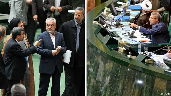 علی لاریجانی در جلسه استیضاح وزیر کار دولت دهم اجازه ادامه سخنرانی به محمود احمدینژاد نداد؛ رئیس دولت نیز به نشانه اعتراض صحن مجلس را ترک کرد