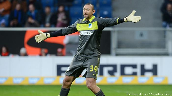 Heurelho Gomes celebrates with arms outstretched after his debut for Hoffenheim, a 2-1 win against visitors Freiburg.