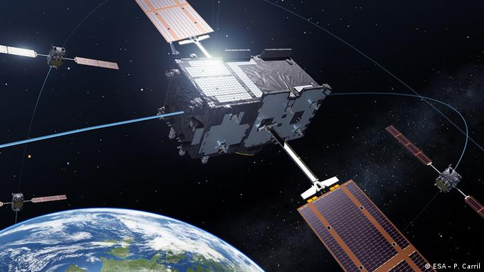 Four Galileo In-Orbit Validation satellites in medium-Earth orbit, the minimum number needed to perform a navigation fix.