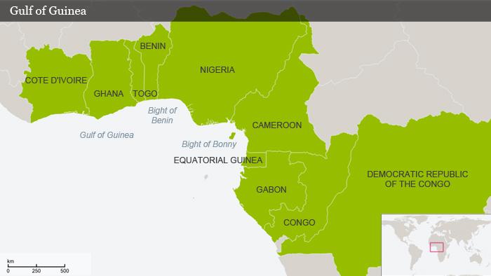 Karte Der Golf von Guinea Deutsch ENG Gulf of Guinea