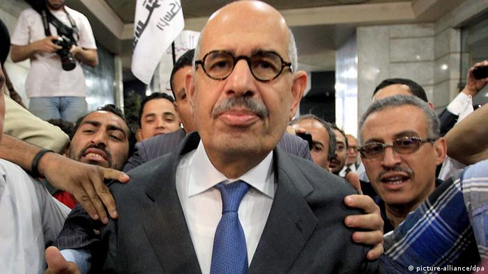 Surrounded by supporters, Mohamed ElBaradei announces a new opposition party in Egypt in 2012.
