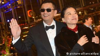 Chinese director and Berlinale jury president Wong Kar Wai and his wife Esther arrive for the premiere of the movie 'The Grandmaster' ('Yi dai zong shi') during the 63rd annual Berlin International Film Festival, in Berlin, Germany, 07 February 2013. The movie has been selected as the opening film for the Berlinale and is running in the offical section out of competion. Photo: Britta Pedersen dpa +++(c) dpa - Bildfunk+++