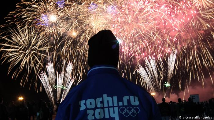 A fireworks is seen during the celebration of one year before the start of the Winter Olympic Games in Sochi, Russia, (Photo: EPA/ANATOLY MALTSEV)