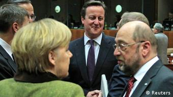 Germany's Chancellor Angela Merkel (L), Britain's Prime Minister David Cameron (C) and European Parliament President Martin Schulz (R) attend an European Union leaders summit meeting to discuss the European Union's long-term budget in Brussels February 7, 2013. European Union leaders begin two days of talks on a long-term budget on Thursday, with efforts to refocus spending on growth likely to be thwarted by demands for farm subsidies as pressure to reach a deal grows. REUTERS/Yves Herman (BELGIUM - Tags: POLITICS BUSINESS)