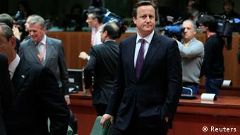 Britain's Prime Minister David Cameron attends an European Union leaders summit meeting to discuss the European Union's long-term budget in Brussels February 7, 2013. European Union leaders begin two days of talks on a long-term budget on Thursday, with efforts to refocus spending on growth likely to be thwarted by demands for farm subsidies as pressure to reach a deal grows. REUTERS/Yves Herman (BELGIUM - Tags: POLITICS BUSINESS)