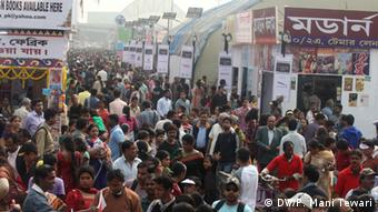 A huge rush at a stall at the Kolkata Book Fair on January 30, 2013