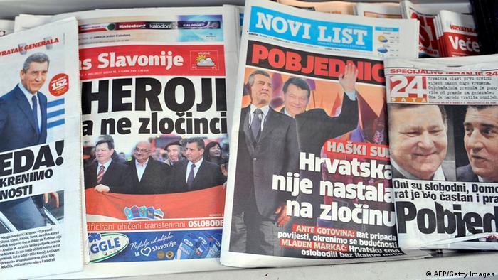 Naslovnice hrvatskih novina s vijestima o oslobađajućoj presudi hrvatskim generalima