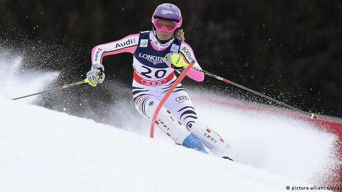 Maria Hoefl-Riesch of Germany in action during the second run of the women's Super Combined event at the Alpine Skiing World Championships in Schladming, Austria (Photo via dpa)