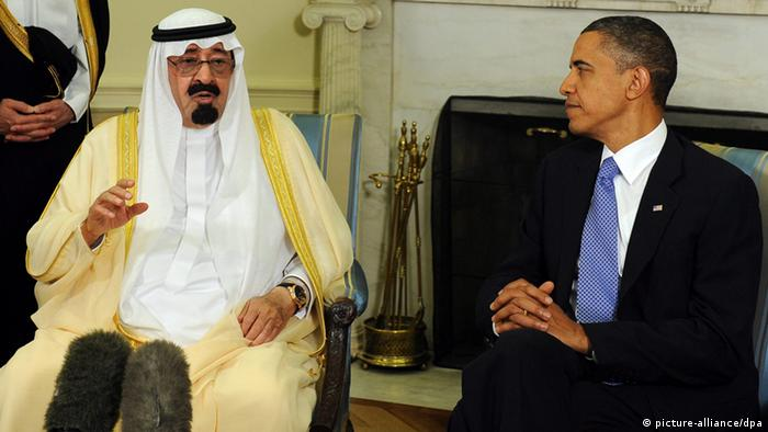 US President Barack Obama (R) and Saudi King Abdullah speak to the media after their meeting in the Oval Office of the White House in Washington DC, USA, on June 29, 2010. EPA/ROGER L. WOLLENBERG