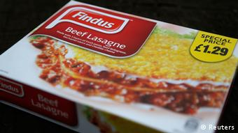 A box of ready-made beef lasagne can be seen before a black background. (Photo: REUTERS/Chris Helgren)