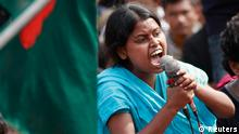A student from the University of Dhaka shouts a slogan as she attends a mass demonstration at Shahbagh intersection, demanding capital punishment for Bangladesh's Jamaat-e-Islami senior leader Abdul Quader Mollah, after a war crimes tribunal sentenced him to life imprisonment, in Dhaka February 8, 2013. More than fifty thousands of protesters rallied in cities across Bangladesh for a fourth day on Friday to demand the execution of an Islamist leader sentenced to life in prison for war crimes committed during the 1971 independence conflict. REUTERS/Andrew Biraj (BANGLADESH - Tags: POLITICS CIVIL UNREST EDUCATION)
