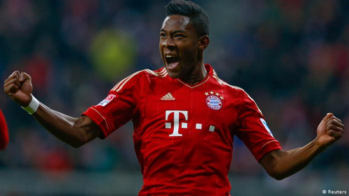Bayern Munich's David Alaba celebrates after he scored against Schalke 04 during their German Bundesliga first division soccer match in Munich February 9, 2013. REUTERS/Michael Dalder