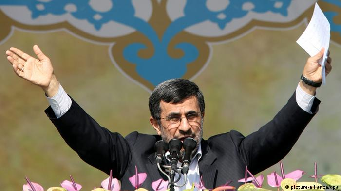 [36899439] 34th anniversary of the Islamic revolution in Iran epa03576473 Iranian President Mahmoud Ahmadinejad delivers his speech to the crowd at the Azadi (freedom) square during a ceremony marking the 34th anniversary of the 1979 Islamic revolution in Tehran, Iran on 10 February 2013. On the occasion of the 34th anniversary of the Islamic revolution Iranian President Mahmoud Ahmadinejad once again proclaimed that the country would make no concessions with the West over its nuclear programmes. EPA/ABEDIN TAHERKENAREH