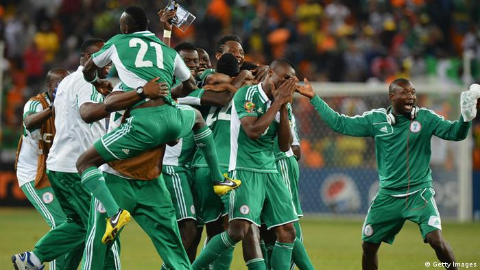 Nigeria's national football team players celebrate after winning the 2013 African Cup of Nations final against Burkina Faso on February 10, 2013 at Soccer City stadium in Johannesburg. BEN STANSALL/AFP/Getty Images