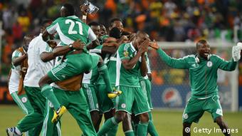 Nigeria's national football team players celebrate after winning the 2013 African Cup of Nations final against Burkina Faso on February 10, 2013 at Soccer City stadium in Johannesburg. AFP PHOTO / BEN STANSALL (Photo credit should read BEN STANSALL/AFP/Getty Images)