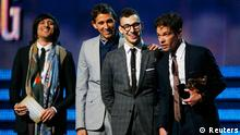 Nate Ruess (C) and Fun accept the Grammy award for song of the year for We Are Young at the 55th annual Grammy Awards in Los Angeles, California, February 10, 2013. REUTERS/Mike Blake (UNITED STATES TAGS:ENTERTAINMENT) (GRAMMYS-SHOW)