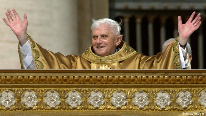 VATICAN CITY - APRIL 24: Pope Benedict XVI holds his first mass at St. Peter's Square on April 24, 2005 in Vatican City. (Photo by Franco Origlia/Getty Images)