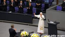 BERLIN, GERMANY - SEPTEMBER 22: Pope Benedict XVI waves after he gave a historic speech at the Bundestag on September 22, 2011 in Berlin, Germany. This was the first occasion ever that a Pope has addressed the Bundestag in person. Pope Benedict, who is German, is in Berlin on the first of a four-day visit to Germany. (Photo by Sean Gallup/Getty Images)