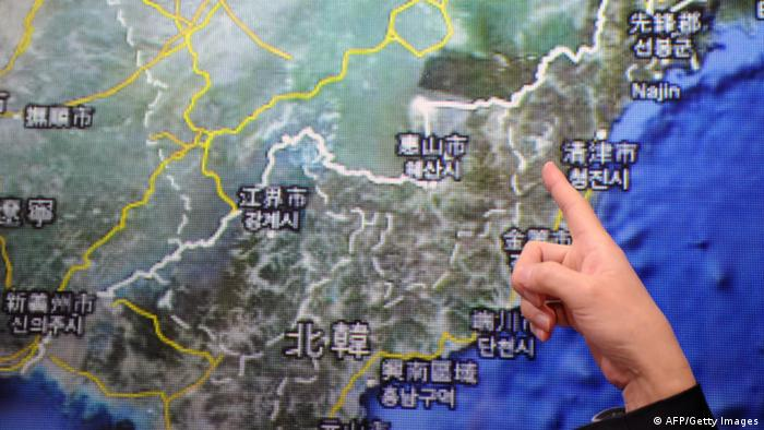 GettyImages 161502978 Chen Kuo-chang, a senior technical specialist from Taiwan's Seismology Center points towards a North Korean map at the location that North Korea staged a nuclear test, at the Central Weather Bureau in Taipei on February 12, 2013. North Korea staged an apparent nuclear test of six to seven kilotons in a striking act of defiance that, if confirmed, is sure to trigger global condemnation from enemies and allies alike. AFP PHOTO / Sam Yeh (Photo credit should read SAM YEH/AFP/Getty Images)