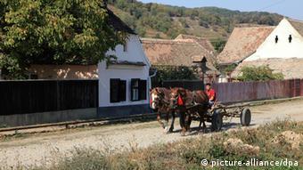 Ein Bauer mit Pferdewagen in Siebenbürgen in Rümänien Foto: Rainer Oettel/pixel
