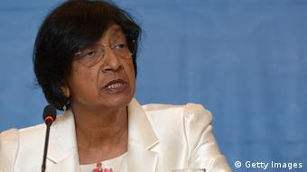 UN High Commissioner for Human Rights Navanethem Pillay, also known as Navi Pillay, speaks during a press conference in Jakarta on November 13, 2012. The UN human rights chief said on November 13, she was distressed by ongoing violence and discrimination against Christians and Muslim minorities in Indonesia, the world's biggest Muslim-majority nation. AFP PHOTO / ADEK BERRY (Photo credit should read ADEK BERRY/AFP/Getty Images)