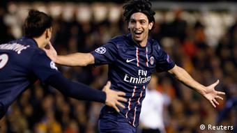 Paris Saint Germain's Javier Pastore celebrates after scoring a goal against Valencia during their Champions League soccer match at Mestalla stadium in Valencia February 12, 2013.(Photo: REUTERS/Heino Kalis)