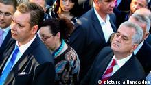 Serbien Oppositionsführer Präsidentschaftskandidat Tomislav Nikolic Bürgermeisterkandidat Aleksandar Vucic