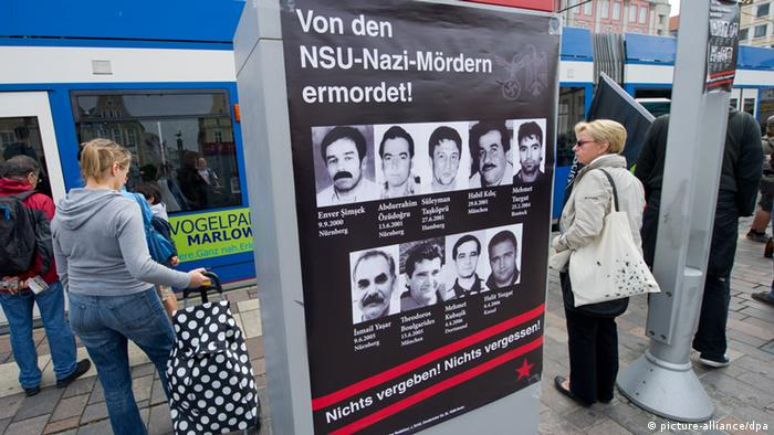 A poster of NSU-victims in the city of Rostock near city hall. Photo: Stefan Sauer dpa/lmv +++(c) dpa - Bildfunk+++