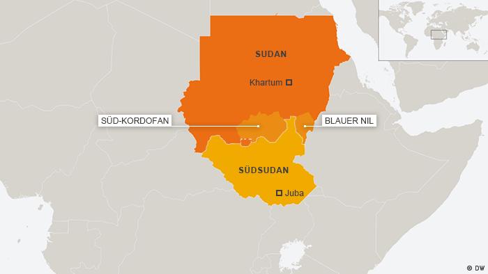 Karte Sudan Blauer Nil Süd-Kordofan mit Südsudan