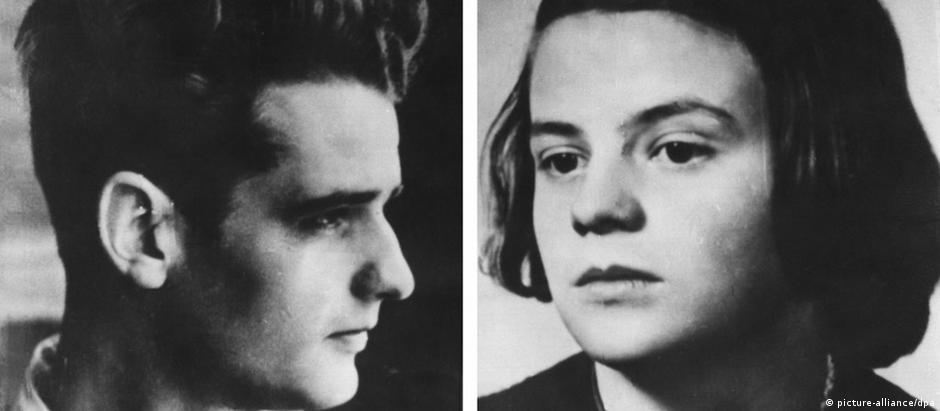 Irmãos Hans e Sophie Scholl, membros do grupo Rosa Branca