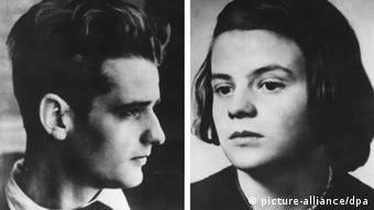 Black-and-white photos of Hans and Sophie Scholl Photo: picture-alliance/dpa
