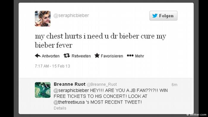 An image of a tweet with the hash tag Bieber fever (Copyright: Twitter)