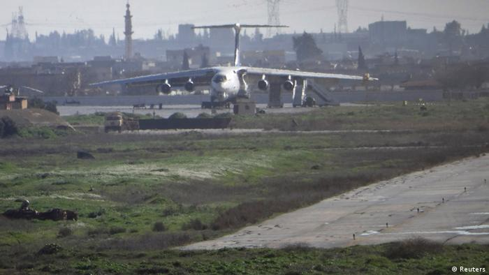 An airplane is seen parked at Aleppo international airport, controlled by forces loyal to Syria's President Bashar al-Assad, February 12, 2013. Photo: REUTERS/Malek Al Shemali