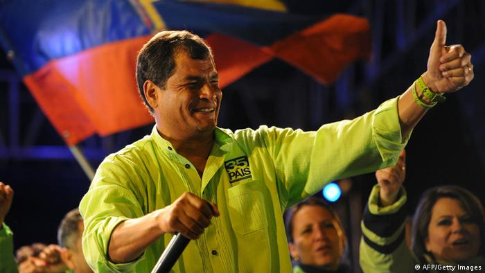 Ecuadorean President and candidate for re-election Rafael Correa during thee final political rally in Quito(PHOTO: RODRIGO BUENDIA/ AFP/Getty Images)