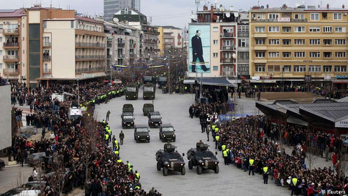 Members of the Kosovo Security Forces (KSF) march during a celebration marking the fifth anniversary of Kosovo's declared independance from Serbia in Pristina February 17, 2013. (Photo: REUTERS/Hazir Reka)