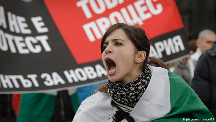 A Bulgarian woman shout slogans during a protest AP Photo/Valentina Petrova