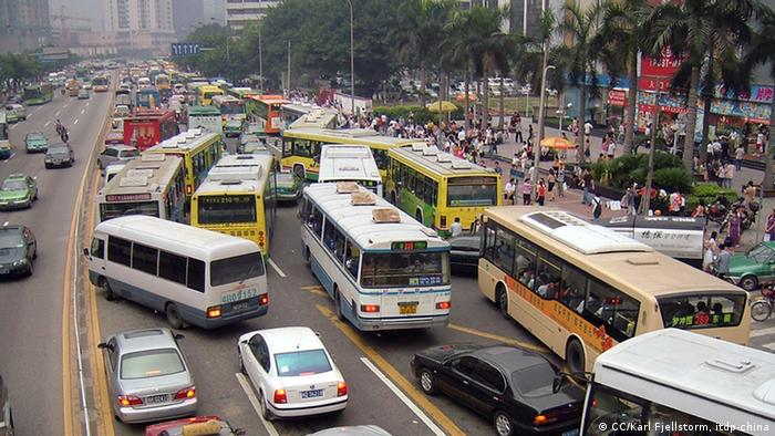 A birds eye view of a traffic-clogged street