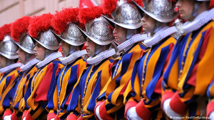 Swiss Guards lined up in Vatican City, Vatican. (Vatican Pool/Getty Images)