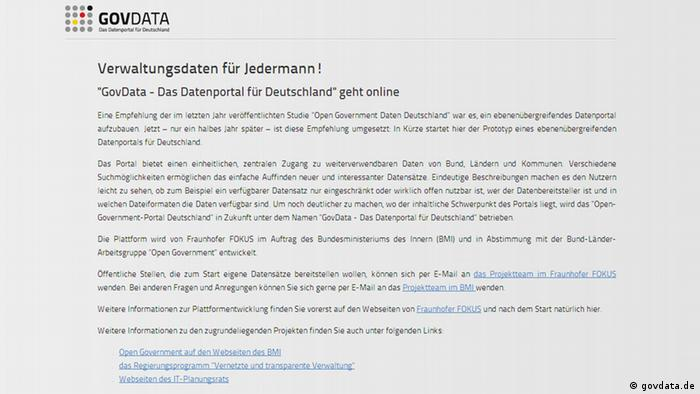 Screenshot of govdata.de (Copyright: govdata.de)